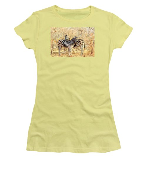 Burchells Zebras Women's T-Shirt (Junior Cut) by Betty-Anne McDonald
