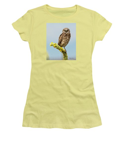 Women's T-Shirt (Junior Cut) featuring the photograph Burrowing Owl On Mullein Plant by Stephen  Johnson