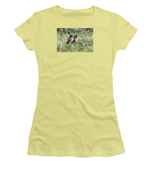 Women's T-Shirt (Junior Cut) featuring the photograph Burrowing Owlets Near Barr Lake by Stephen  Johnson