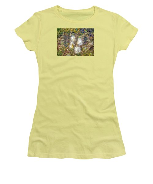Women's T-Shirt (Junior Cut) featuring the photograph Bursting Milkweed Seed Pods by Constantine Gregory