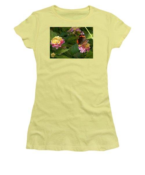 Women's T-Shirt (Junior Cut) featuring the photograph Busy Butterfly Side 1 by Felipe Adan Lerma