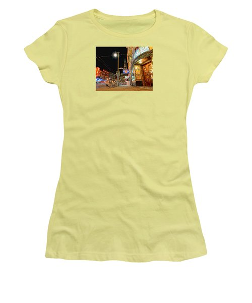 Women's T-Shirt (Athletic Fit) featuring the photograph Busy View Northbeach San Francisco by Steve Siri