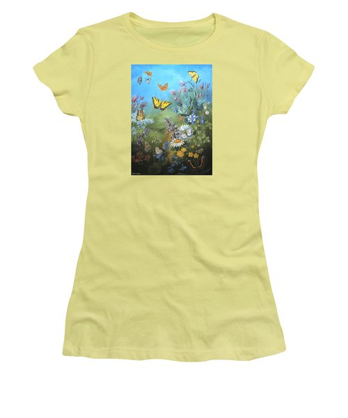 Women's T-Shirt (Junior Cut) featuring the painting Butterflies And Wildflowers Of Wyoming by Dawn Senior-Trask
