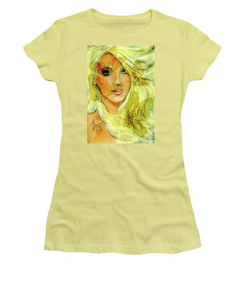 Women's T-Shirt (Junior Cut) featuring the painting Butterfly Blonde by P J Lewis