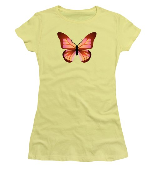 Women's T-Shirt (Junior Cut) featuring the digital art Butterfly Graphic Pink And Orange by MM Anderson