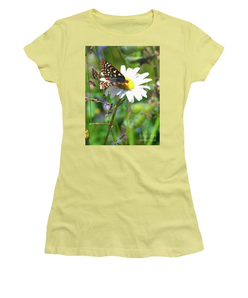 Butterfly On A Wild Daisy Women's T-Shirt (Junior Cut) by Ansel Price