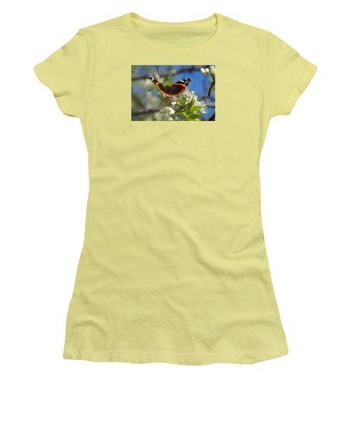 Butterfly On Blossoms Women's T-Shirt (Junior Cut) by Steven Clipperton