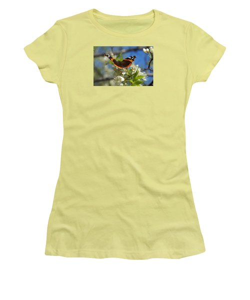 Butterfly On Blossoms Women's T-Shirt (Athletic Fit)