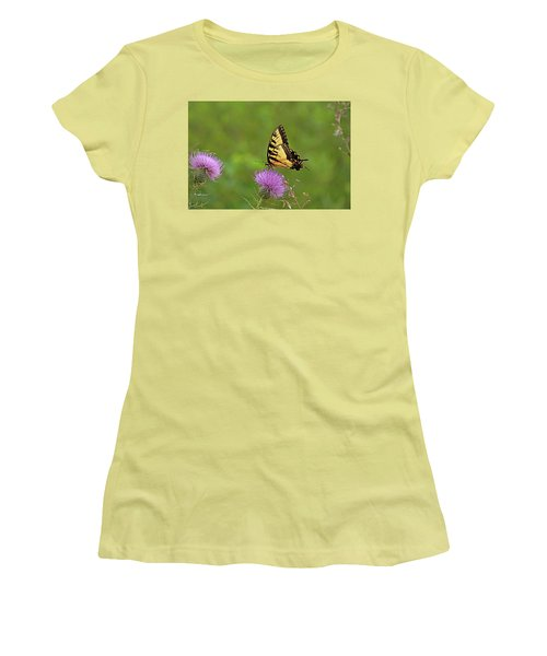 Women's T-Shirt (Junior Cut) featuring the photograph Butterfly On Thistle by Sandy Keeton