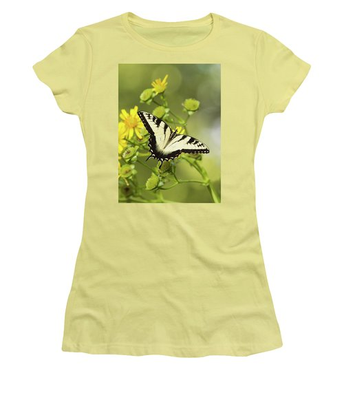 Butterfly On Yellow Women's T-Shirt (Athletic Fit)