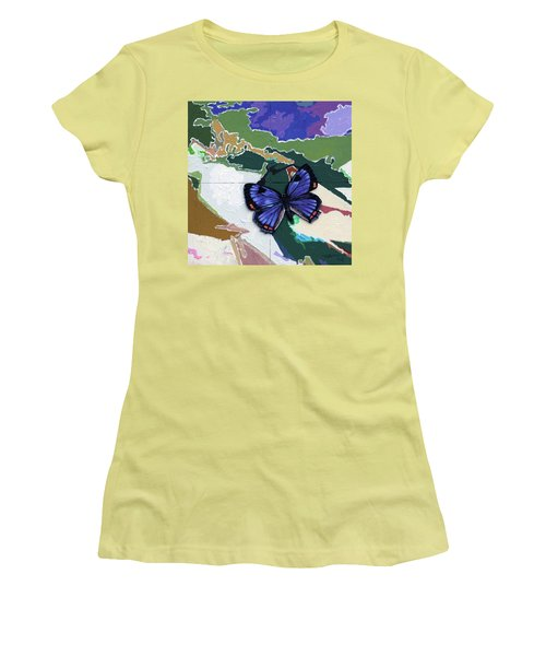 Butterfly Over Great Lakes Women's T-Shirt (Junior Cut) by John Lautermilch