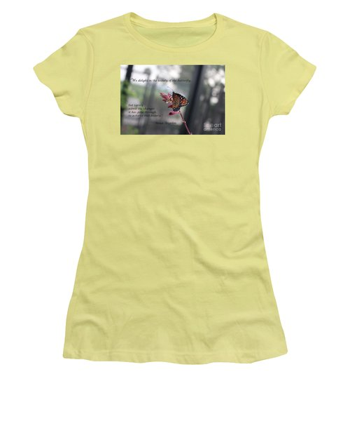 Butterfly Quote Art Print Women's T-Shirt (Athletic Fit)