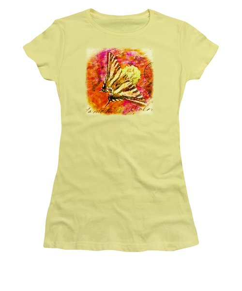 Butterfly T - Shirt Print Women's T-Shirt (Junior Cut) by Debbie Portwood