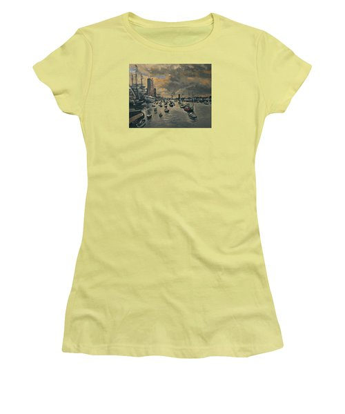 Women's T-Shirt (Junior Cut) featuring the painting Bye Bye Sail Amsterdam by Nop Briex