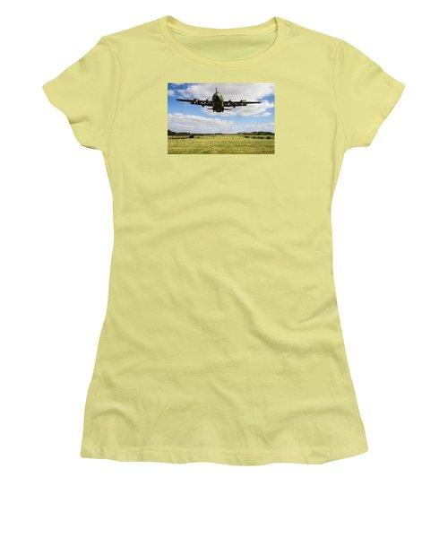 C130 Hercules Landing Women's T-Shirt (Junior Cut) by Ken Brannen