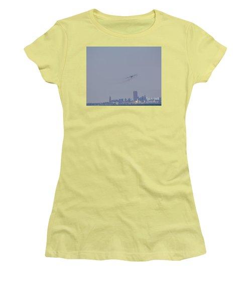 C130 Over Buffalo Women's T-Shirt (Junior Cut) by Jim Lepard