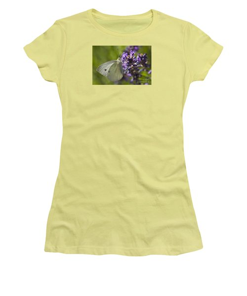 Women's T-Shirt (Junior Cut) featuring the photograph Cabbage White Butterfly by Inge Riis McDonald
