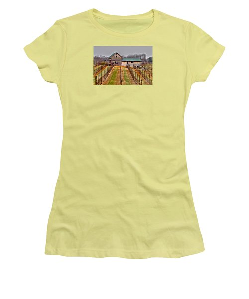 Cabin At Autumn Creek Vineyard Women's T-Shirt (Athletic Fit)