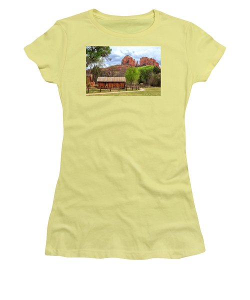 Women's T-Shirt (Athletic Fit) featuring the photograph Cabin At Cathedral Rock by James Eddy