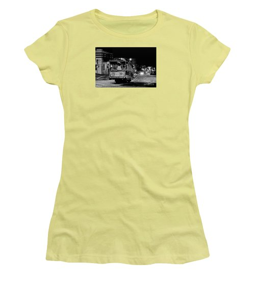 Cable Car At Night - San Francisco Women's T-Shirt (Athletic Fit)