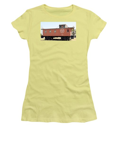 Women's T-Shirt (Junior Cut) featuring the photograph Caboose by Ray Shrewsberry