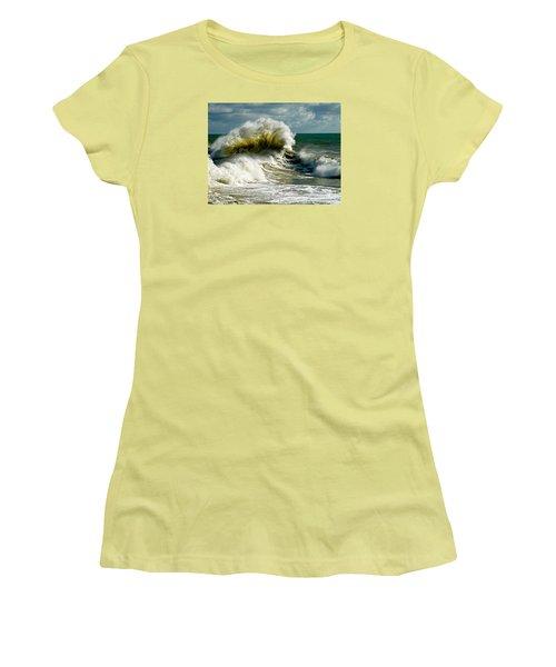 Cabrillo Shorebreak  Women's T-Shirt (Junior Cut) by Michael Cinnamond