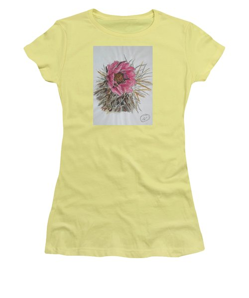 Women's T-Shirt (Junior Cut) featuring the painting Cactus Joy by Sharyn Winters