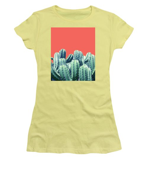 Cactus On Coral Women's T-Shirt (Athletic Fit)