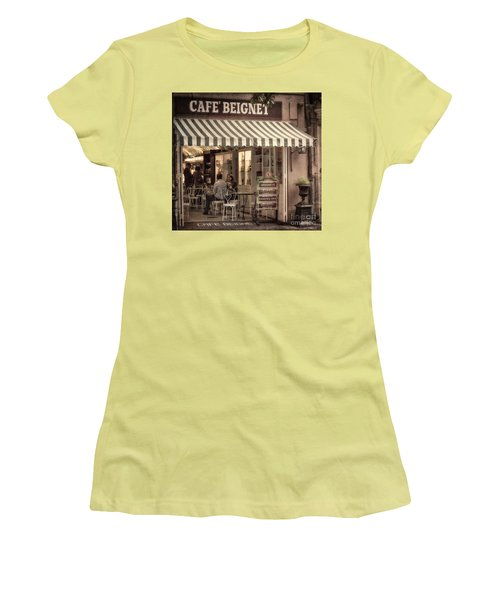 Cafe Beignet 2 Women's T-Shirt (Junior Cut) by Jerry Fornarotto