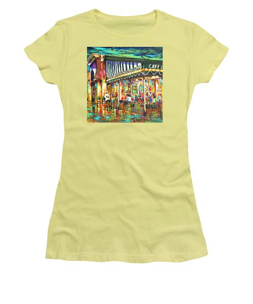 Women's T-Shirt (Junior Cut) featuring the painting Cafe Du Monde Night by Dianne Parks