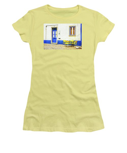 Women's T-Shirt (Junior Cut) featuring the photograph Cafe In Portugal by Marion McCristall