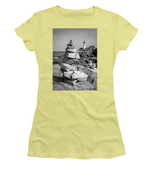 Women's T-Shirt (Junior Cut) featuring the photograph Cairn And Lighthouse  -56052-bw by John Bald