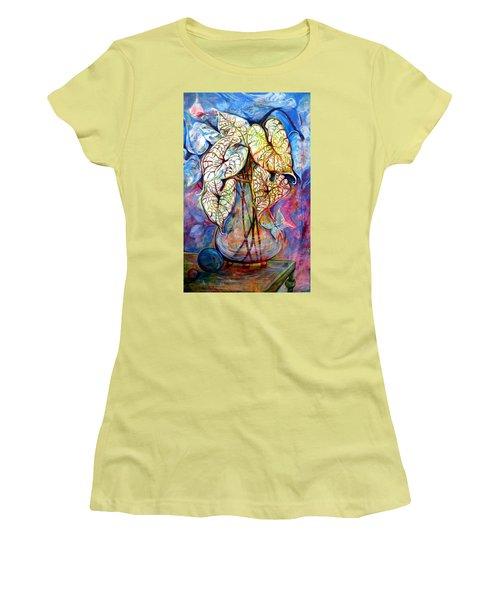 Caladium Glass Creation Women's T-Shirt (Junior Cut) by Jan VonBokel