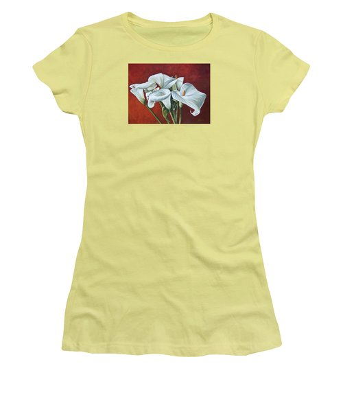 Women's T-Shirt (Junior Cut) featuring the painting Calas by Natalia Tejera