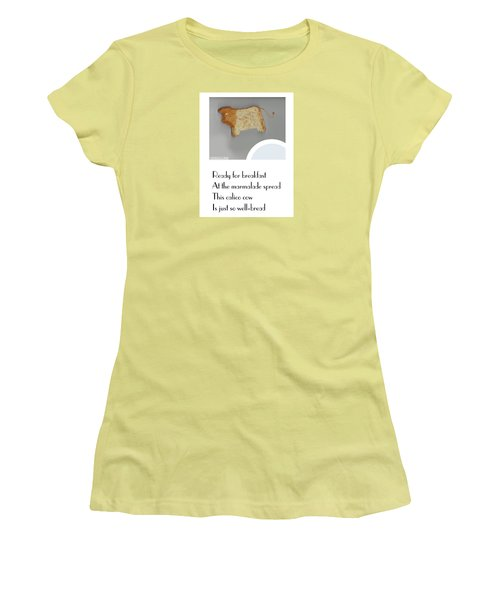 Women's T-Shirt (Junior Cut) featuring the digital art Calico Cow by Graham Harrop