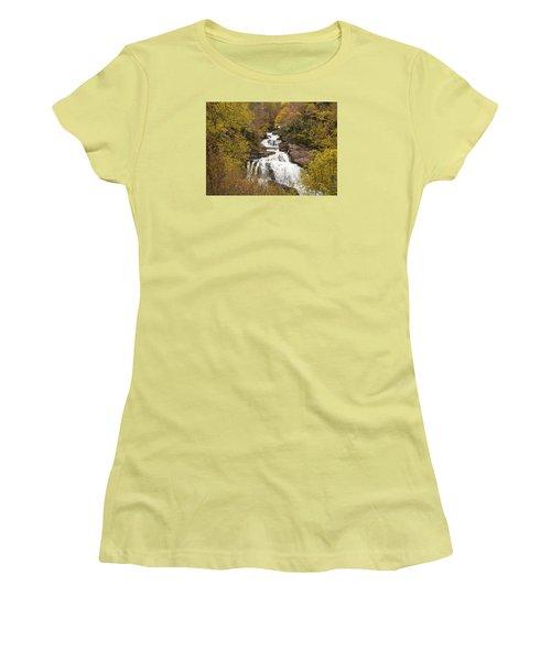 Women's T-Shirt (Junior Cut) featuring the photograph Callasaja Falls- North Carolina by Penny Lisowski