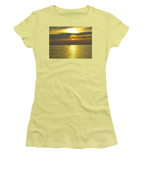 Calm Before Sunset Over Lake Erie Women's T-Shirt (Junior Cut) by Donald C Morgan