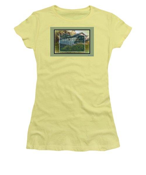 Women's T-Shirt (Junior Cut) featuring the digital art Cambridge Jct. Bridge History by John Selmer Sr