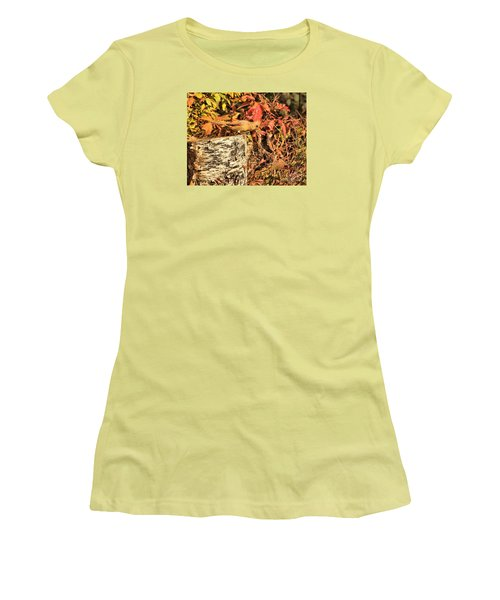 Camo Bird Women's T-Shirt (Junior Cut) by Debbie Stahre