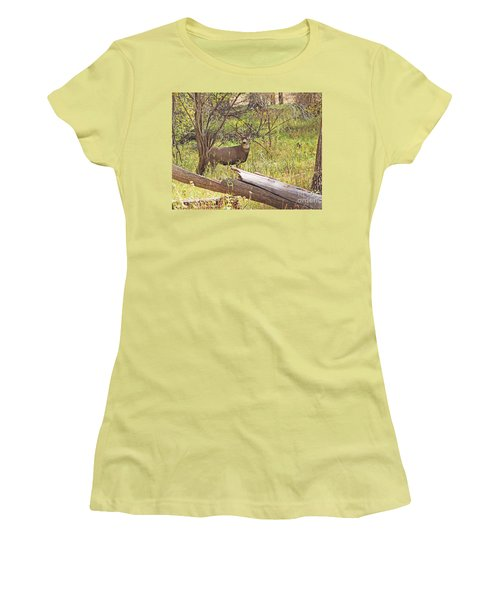 Camouflaged Buck Crystal Creek Colorado IIi Women's T-Shirt (Athletic Fit)