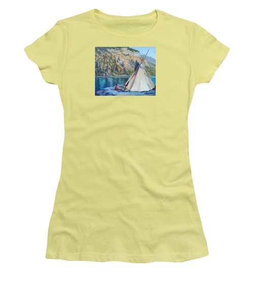 Camp By The Lake Women's T-Shirt (Junior Cut) by Connie Schaertl