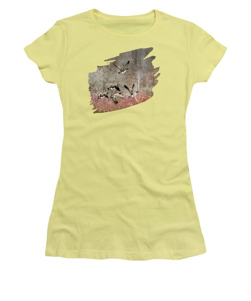 Canada Geese In Flight Women's T-Shirt (Junior Cut) by Christina Rollo