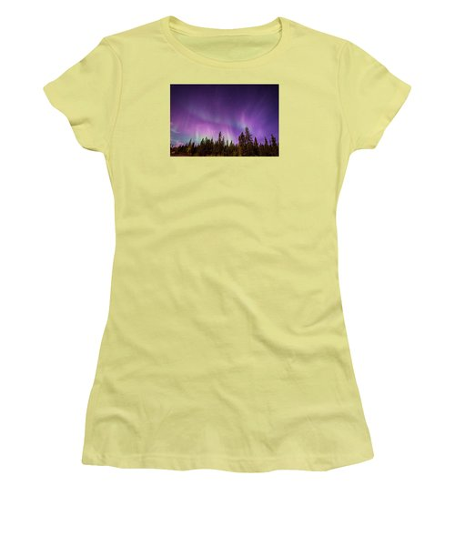 Women's T-Shirt (Junior Cut) featuring the photograph Canadian Northern Lights by Serge Skiba