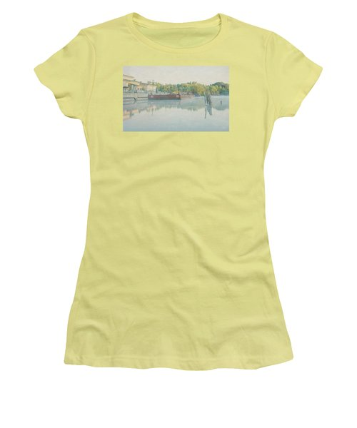Women's T-Shirt (Junior Cut) featuring the photograph Canal In Pastels by Everet Regal