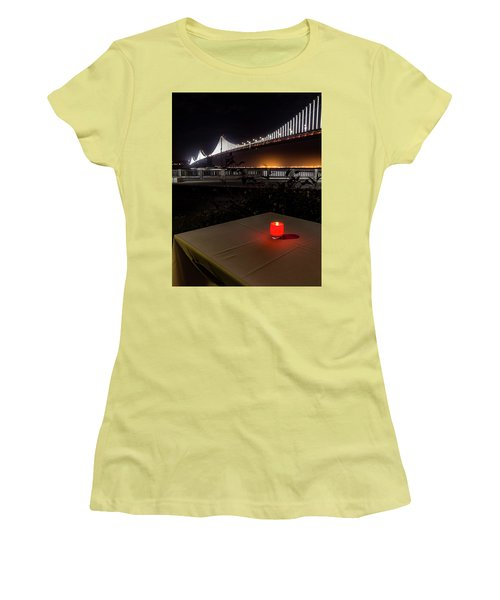 Women's T-Shirt (Junior Cut) featuring the photograph Candle Lit Table Under The Bridge by Darcy Michaelchuk