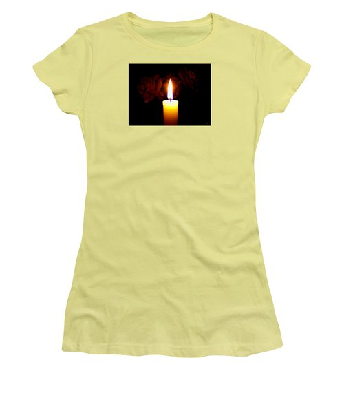 Candlelight And Roses Women's T-Shirt (Junior Cut) by Will Borden