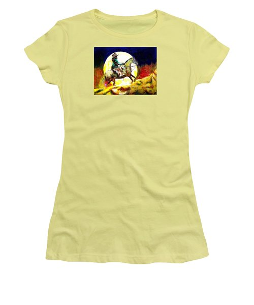 Women's T-Shirt (Junior Cut) featuring the painting Canyon Moon by Seth Weaver