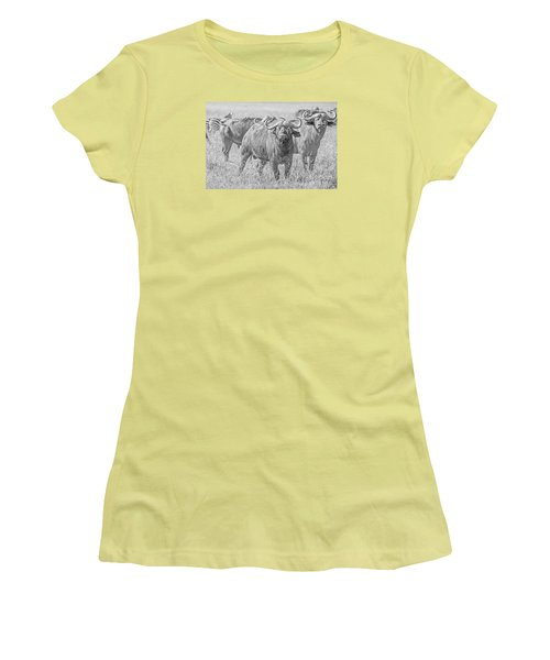Women's T-Shirt (Junior Cut) featuring the photograph Cape Buffalos In Serengeti by Pravine Chester