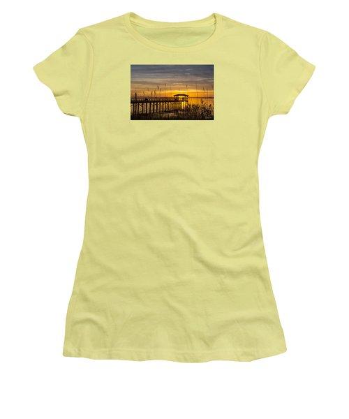 Women's T-Shirt (Junior Cut) featuring the digital art Cape Fear Sunset Fort Fisher by Phil Mancuso