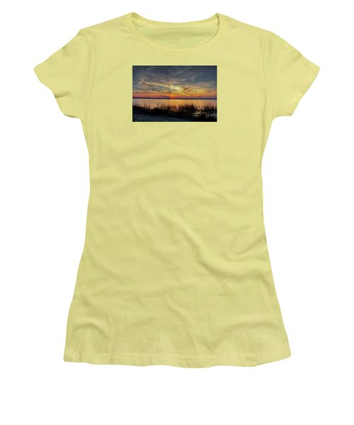 Women's T-Shirt (Junior Cut) featuring the photograph Cape Fear Sunset Return by Phil Mancuso